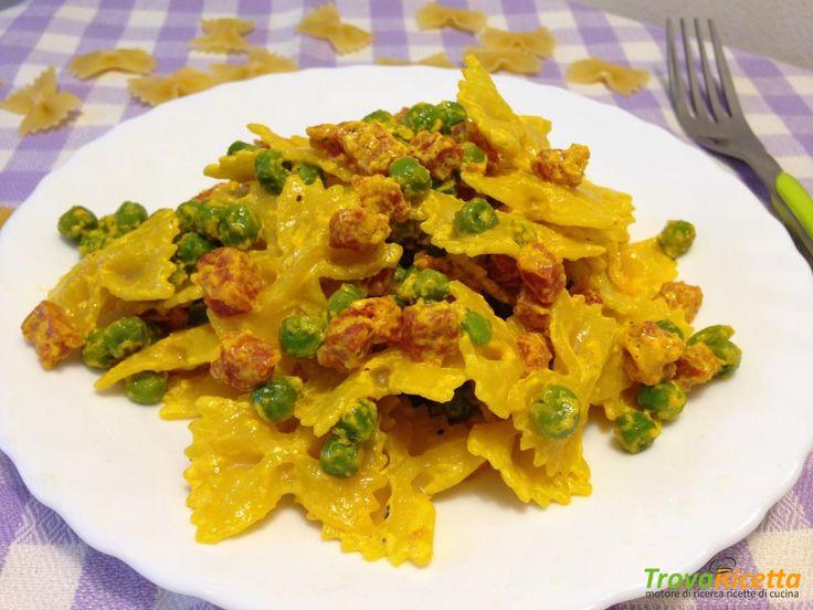 Farfalle in crema di zafferano con pancetta e piselli  #ricette #food #recipes