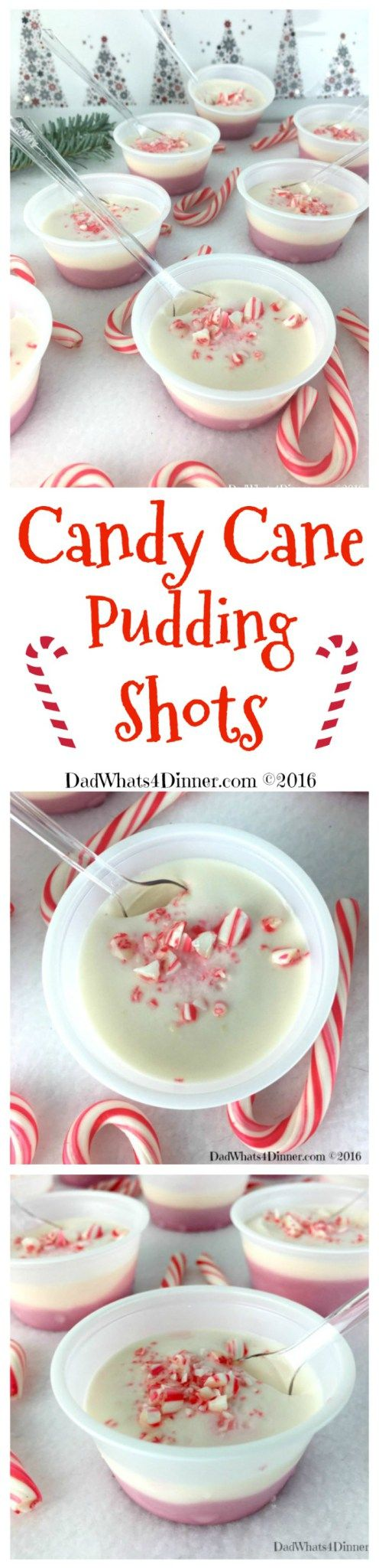 Your Christmas party will be Ho Ho Ho not Ho Ho Hum with these adult Candy Cane Pudding Shots. Your favorite Christmas treat with a nice little peppermint kick. Smooth and creamy! #jello-shots #shots #pudding-shots #Christmas #Jello #pudding #candycanes #peppermint www.dadwhats4dinner.com ©2016