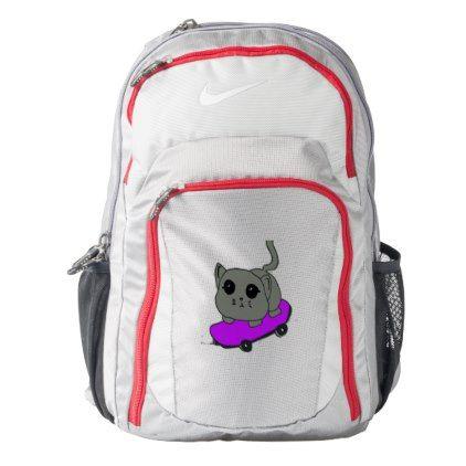 cat skateboard backpack - cat cats kitten kitty pet love pussy
