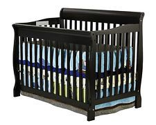 Check Out This Black Convertible Crib Baby Nursery 4 In 1 Toddler Bed  Stationary Wood Dream NEW In Baby, Nursery Furniture, Cribs