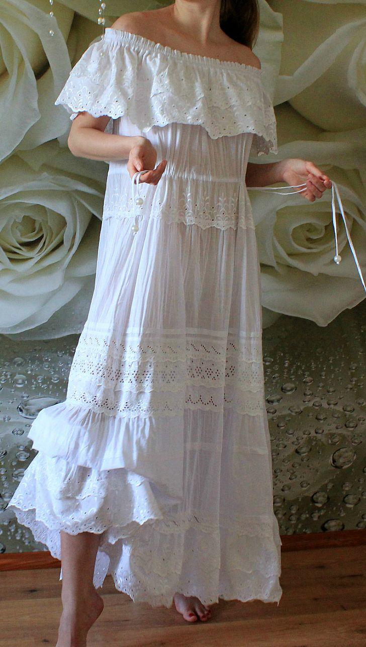 White Lace Boho Beach Dress Eco Wedding Dress Boho Wedding Dress Wedding Dresses Plus Size [ 1287 x 728 Pixel ]