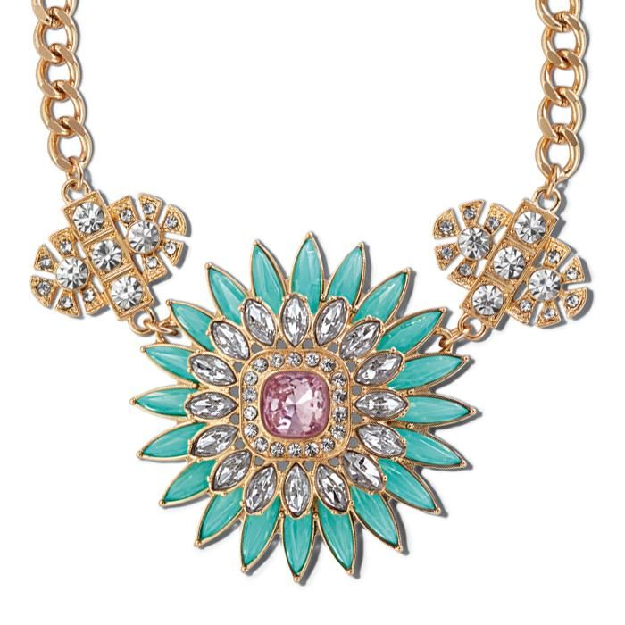 Make a sparkling statement in min-and blush. Statement necklace with sparkling floral design featuring mint and blush colored glass stones on a curb chain. Visit my Avon online Store @ www.youravon.com/devanko
