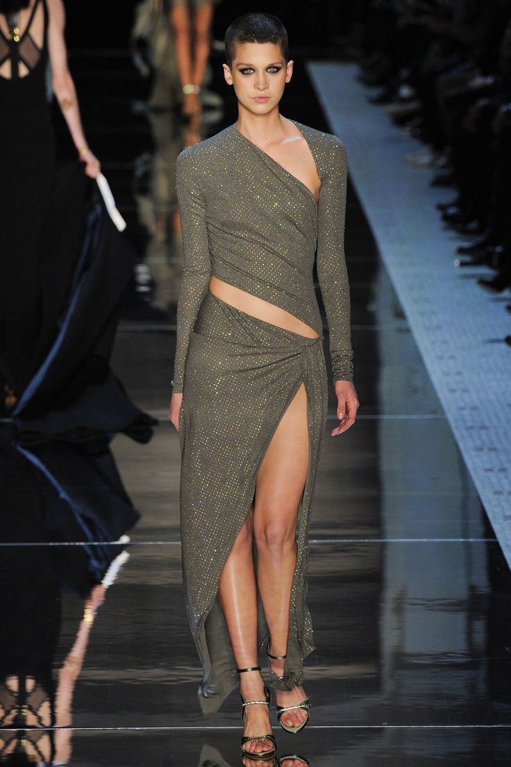 Gorgeous Olive with a Hint of Metallic Gold Sarong Style Gown Alexandre Vauthier Spring 2016 Couture Fashion Show