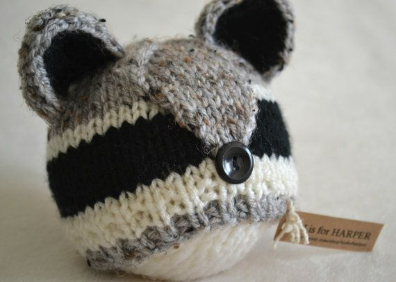 This one is definitely inspired by my own little ones, anyone elses baby a little nocturnal? And the only thing cuter than a baby that thinks night should be day is a raccoon! This little raccoon hat is handmade with soft acrylic mixed heather gray, black and off white yarn, and a little black button nose. Perfect for a photo session, and this hat is ready to ship! ♥ NEWBORN size will fit approx. 11 to 15 inch head circumference. Hat is 4.5 inches from top to bottom. ♥ handmade in a smoke…