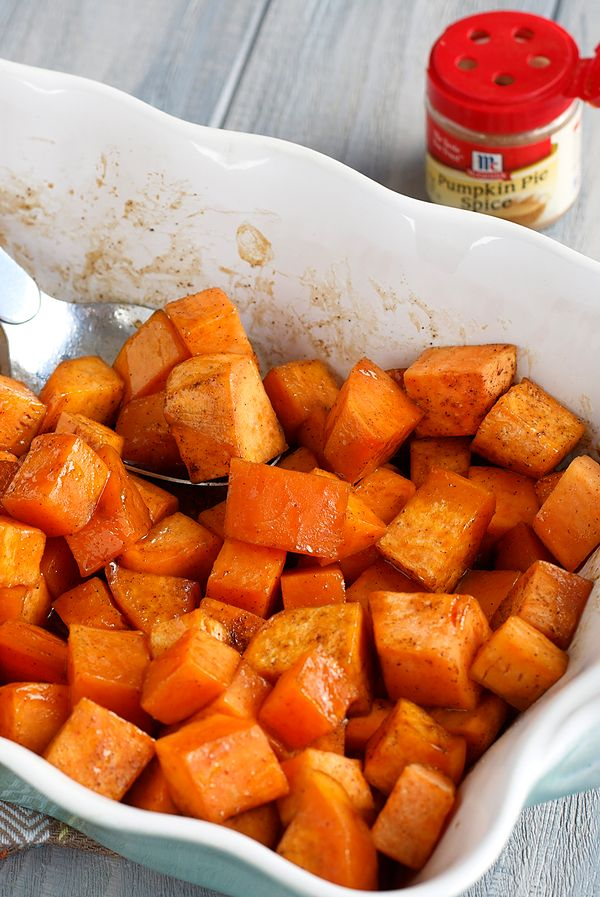 This sweet potato side dish recipe will be the highlight of your special holiday meal. Pumpkin pie spice and vanilla provide a warm, natural sweetness to this easy sweet potatoes recipe.