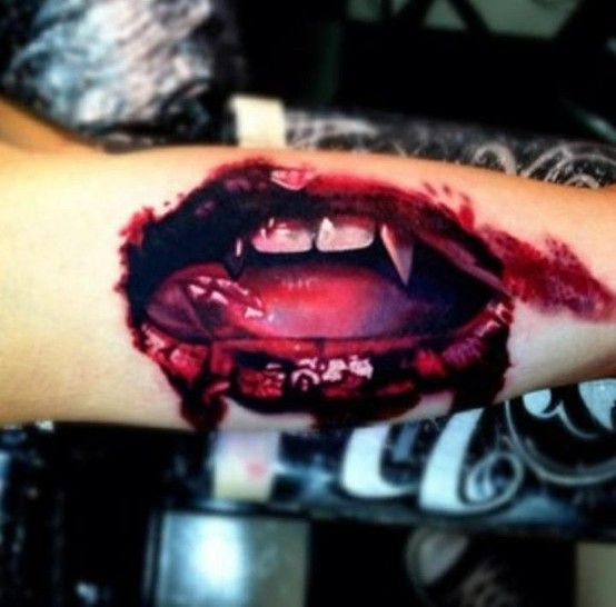 Vampire lips tattoo not a fan of the macabre but WOW!