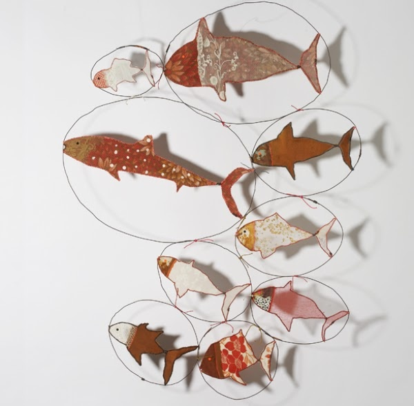 wire and fabric fish sculpture