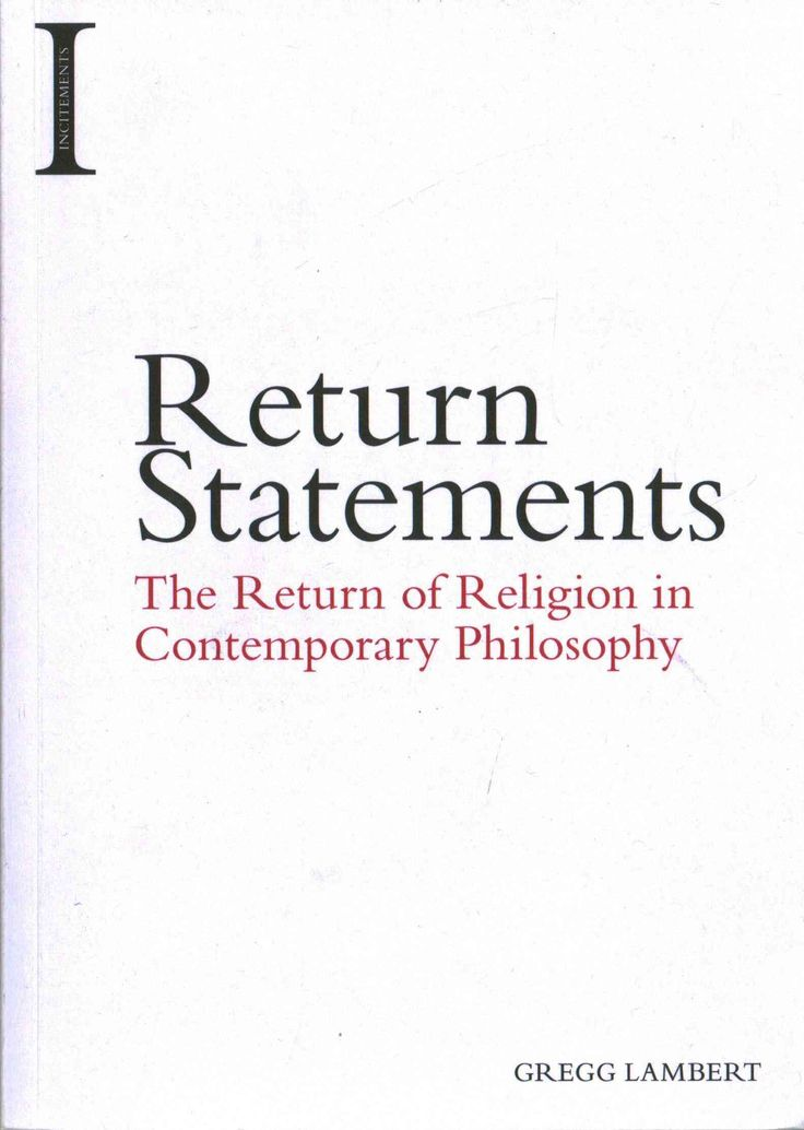 Return Statements: The Return of Religion in Contemporary Philosophy