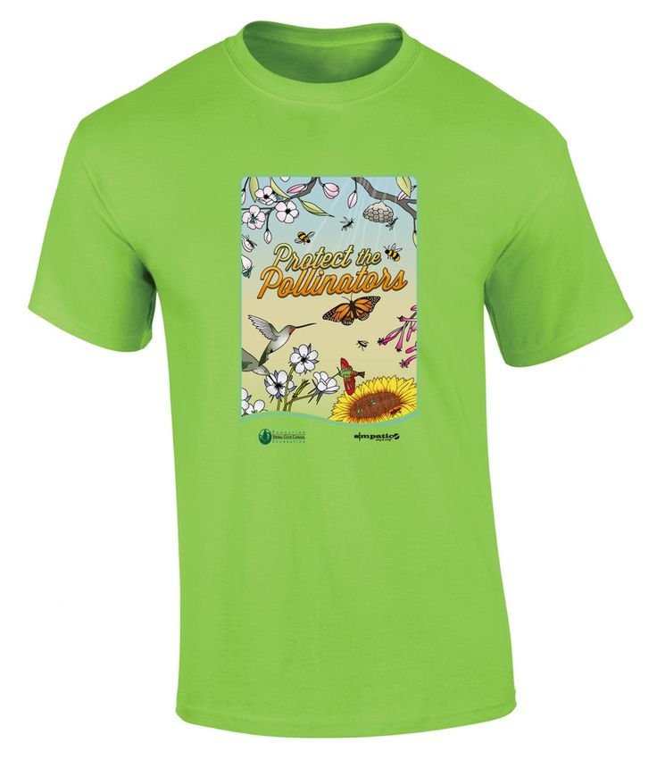 "Cast off your parka this spring and show your support for the bees with a ""Protect the Pollinators"" Tour T-shirt. This colourful organic cotton T-shirt was designed by artist Sam Hamilton specifically for the Sierra Club Canada/The Kepler Code Cross-Canada Tour.  $24.95"