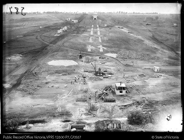 Moonee Ponds Creek viaduct from South abutment.  26-01-1928