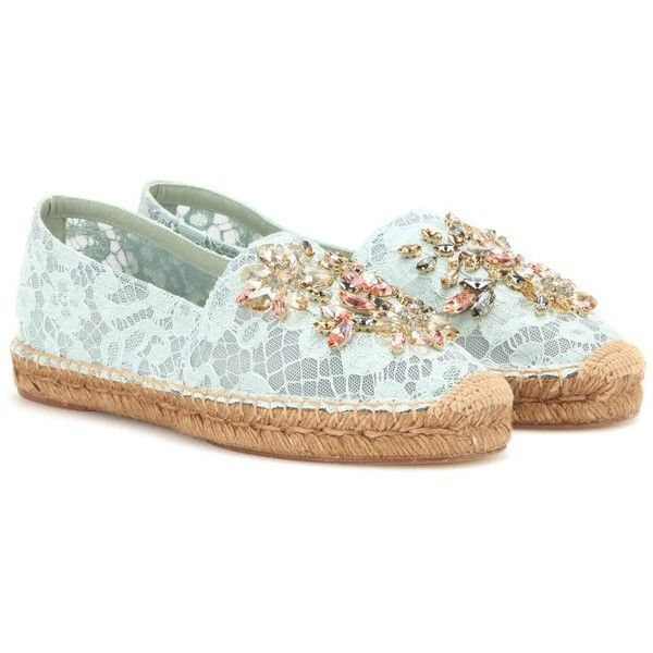 Dolce & Gabbana Crystal-Embellished Lace Espadrilles ($985) ❤ liked on Polyvore featuring shoes, sandals, dolce gabbana sandals, espadrille sandals, lacy shoes, dolce&gabbana and espadrilles shoes