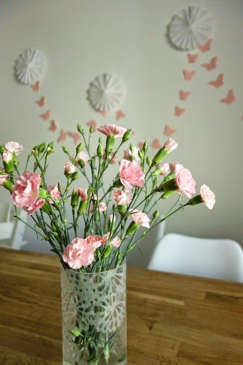 DecoDreamer's Diary: birthday, synttärit, syntymäpäivät, first birthday, ensimmäiset synttärit, party, kids, juhlat, lapset, pinkki, pink, kukat, flowers, butterfly garland, perhosnauha, rosetit
