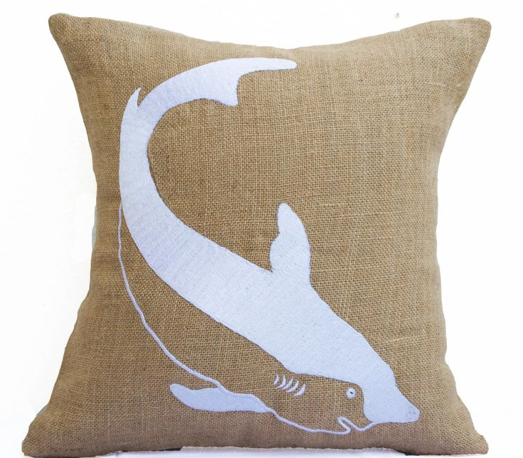 Burlap Pillows Shark Embroidered Beige White Pillow Nautical Sea Life Pillow