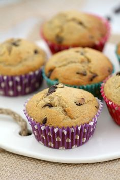 These easy Banana Chocolate Chip Muffins are the perfect lunchbox filler (or mid-morning treat with your cuppa!). Less than 10 minutes preparation time, means that these muffins are not only delicious, but also super quick! #banana #chocolate #muffins #easy #recipe #quick #kid-friendly