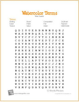 Watercolor Terms | Free Word Search Worksheet by wavemusicstudio, via Flickr