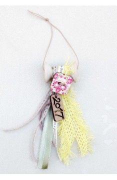 Γούρι Spool Yellow Lace & Floral Button