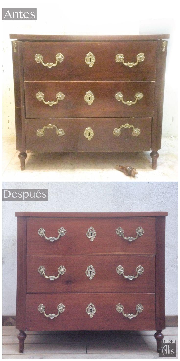Antes y después. Una cajonera antigua restaurada. Studio Alis - Barcelona