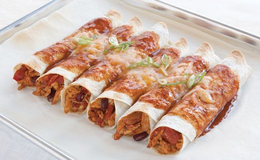 Lunch/Dinner: Epicure's Chicken Enchiladas (300 calories/serving) serve with side of veggies
