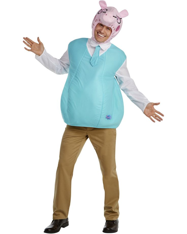 Peppa Pig Daddy Pig Men's Costume includes Cartoons | Animation Daddy Pig Bubble costume with character hood as featured for