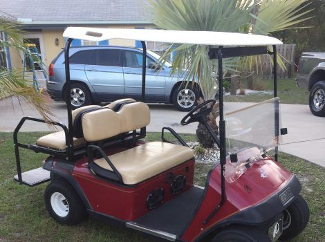 Good condition – no cracks – metal frame -Used Ez Go electric #golfcart Xrt850 for sale in Florida– with stereo system 4 seater.- $2500