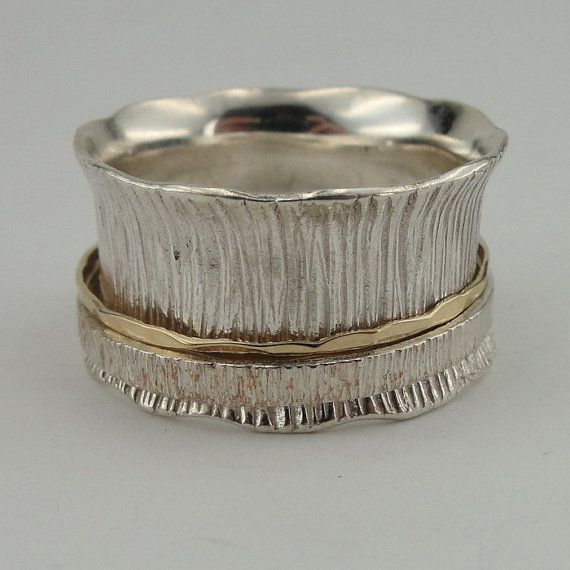 Stunning 9k Gold Sterling Silver Swivel Band / Ring size by jewela