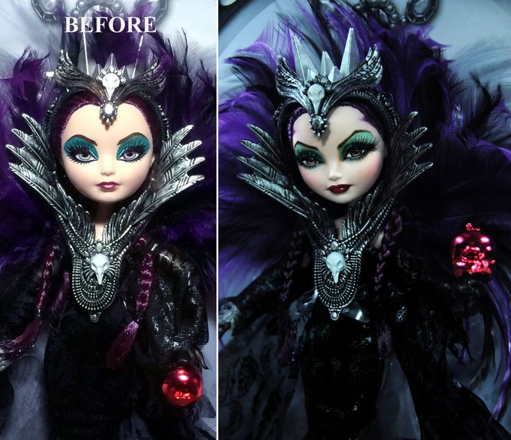 Before and After: Custom repaint of San Diego Comic Con 2015 Exclusive Mattel Ever After High Raven Queen doll ***YOU CAN NOW FOLLOW MY WORK ON INSTAGRAM @noelcruzdolls FOR MORE OF MY ART, PLEASE V...