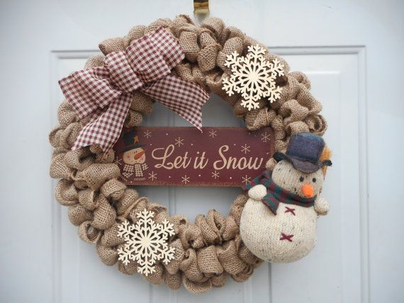 Snowman wreath Let it Snow wreath Country by ChloesCraftCloset