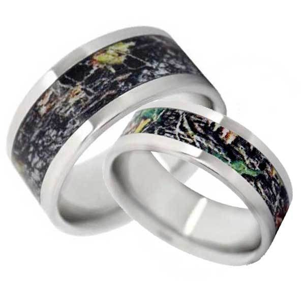 Camo Wedding Band His and Hers Set - Flat Vitalium | Free Shipping | CAMOKIX