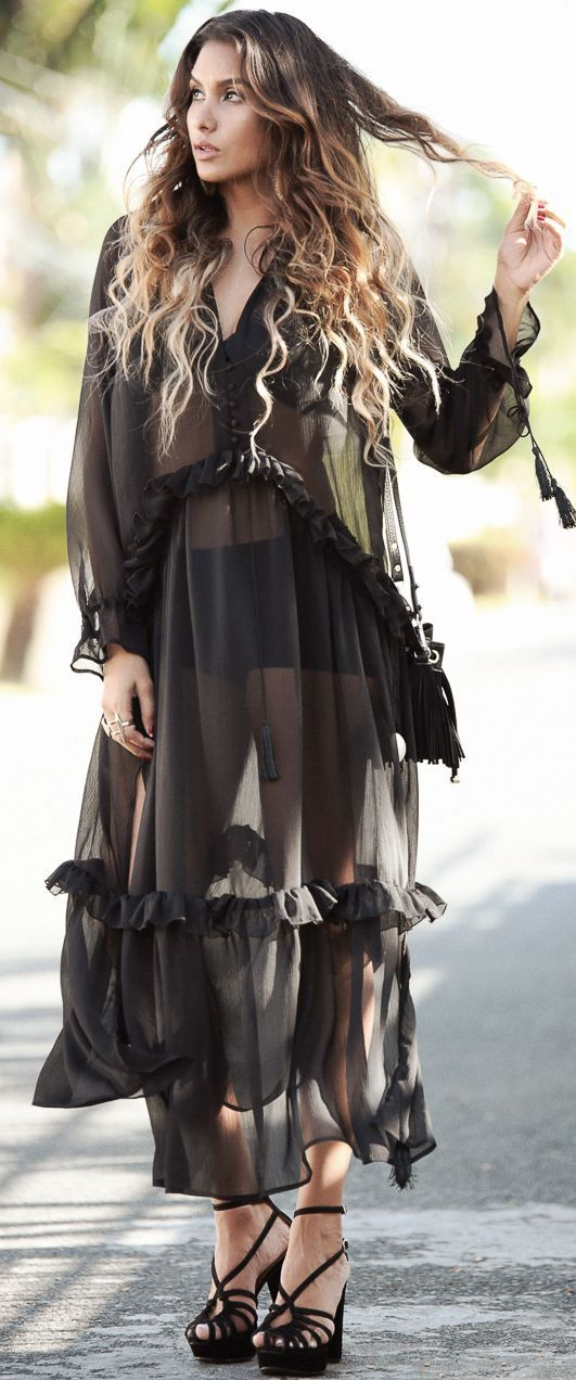 Dawilda Black Sheer Maxi Cover-up Fall Beach Holiday Style Inspo #Fashionistas