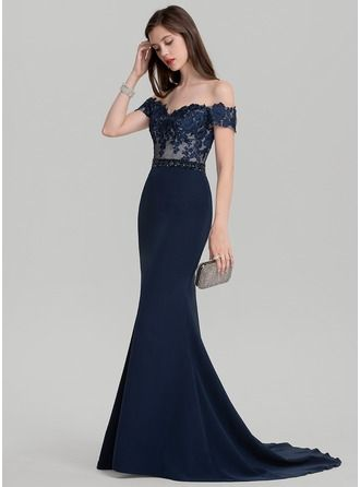 Trumpet/Mermaid Off-the-Shoulder Sweep Train Beading Sequins Zipper Up Strapless Short Sleeves No Dark Navy Spring Summer Fall General Plus Satin Height:5.8ft Bust:31in Waist:25in Hips:35in US 2 / UK 6 / EU 32 Prom Dress