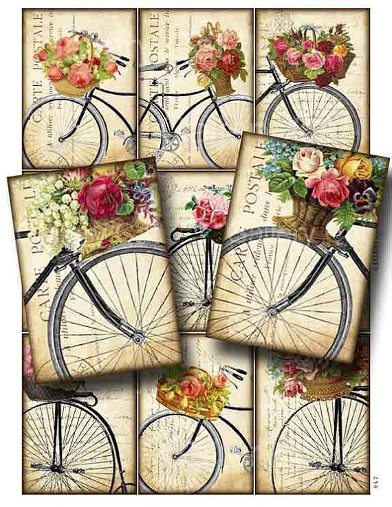 Antique Bicycle with Basket of Roses Digital Collage Sheet Instant Download Original Whimsical Altered Art by GalleryCat CS47. $ 3.70
