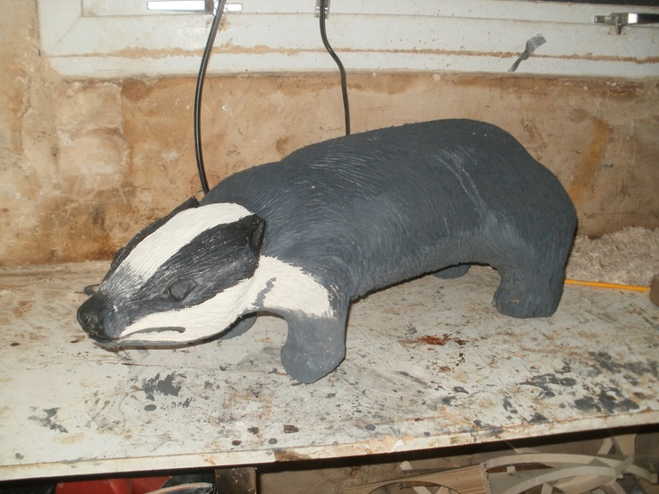 An oak carved badger using my angle grinder and arbortech