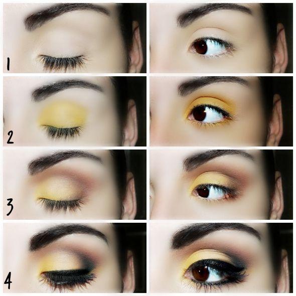 Maquillaje especial para ojos marrones con sombra de ojos amarilla y marrón para favorecer los ojos oscuros.