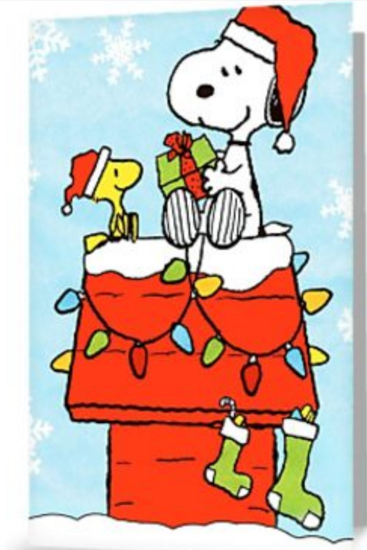 Snoopy Christmas Cards.Illustrated Snoopy Greeting Card Classic Charlie Brown