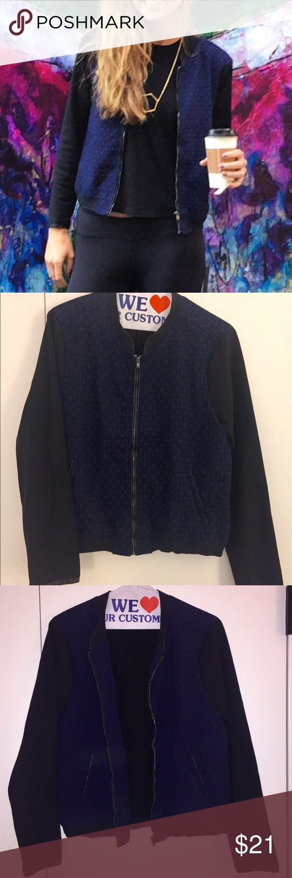 Noir Navy + Black Textured Bomber Jacket (M) Navy + black patterned bomber jacket from Noir. Black sleeves + lining. Pleather detail at wrists, zipper + pocket. Purchased last fall for $86 online. Slight color fading at top of zipper. Noir Jackets & Coats