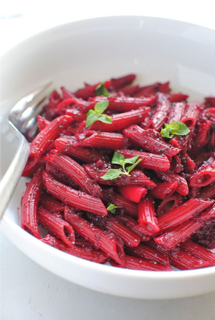 Penne pasta in a roasted beet sauce.  I'm going to try this once my beets grow.  I think I can sub cashews for parm.