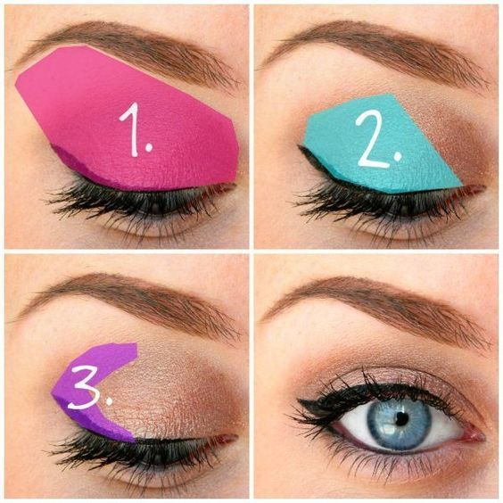 Eyeshadow: (1) lightest shade, (2) medium shade, (3) darkest shade: