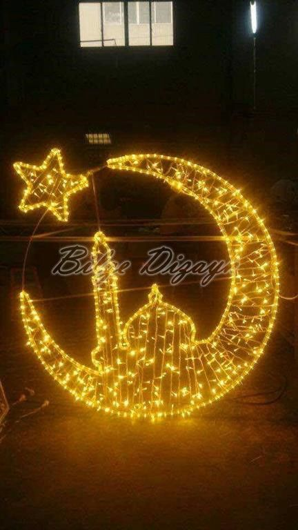 Ay yıldız ışık minare ışık dekoru ışık süsleme