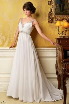 Fabulous chiffon bridal gown with sparkling crystal beadwork, straps and flowing train.