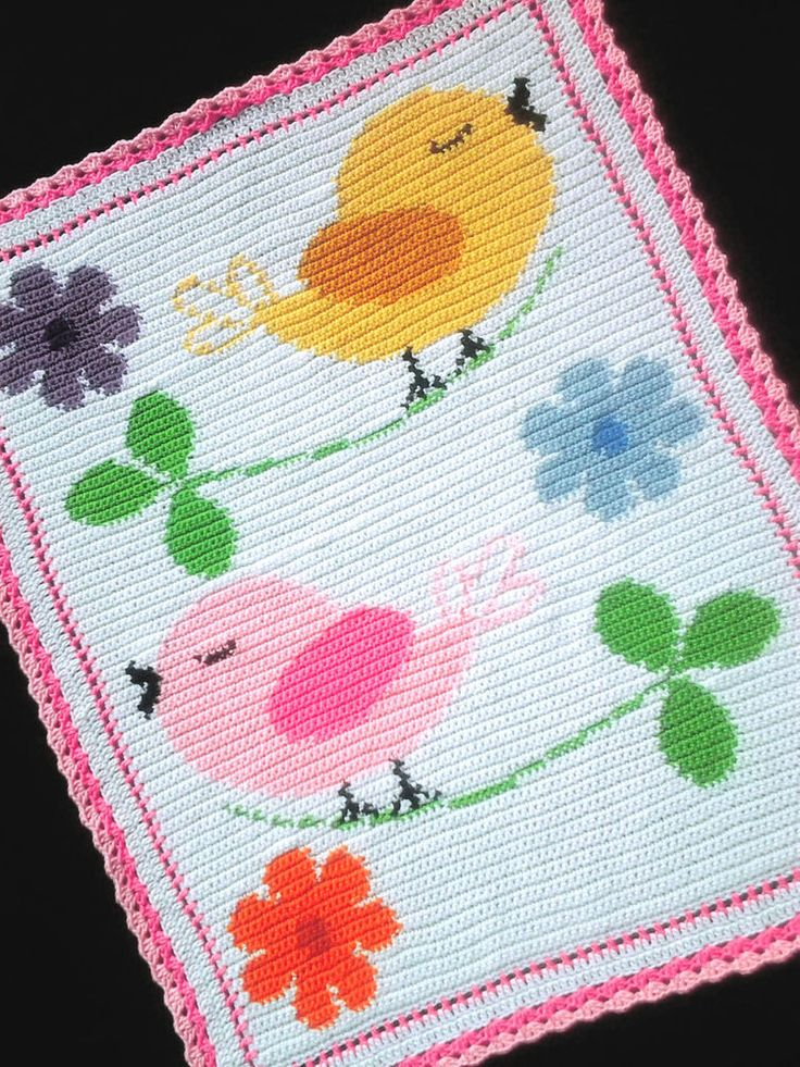 BIRDS AND FLOWERS Color Graph Baby Afghan Pattern  #KarensCradleCreations
