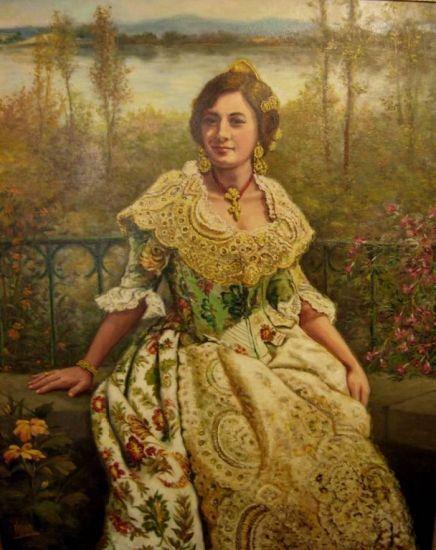 Retrato de una Valenciana, cuadro pintado al óleo, obra de Carmelo VARONA