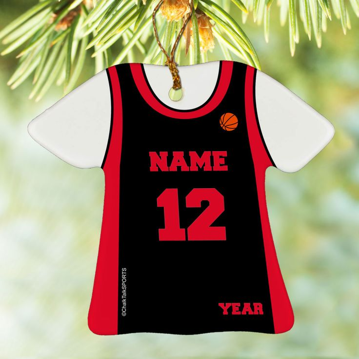 Basketball Porcelain Ornament Personalized Basketball Jersey - Our porcelain ornaments make the perfect gift for any basketball player. Add one of our ornament stands and turn this collectible piece into a desk ornament that can be enjoyed all year round!