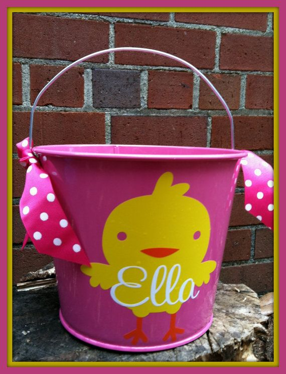 Personalized Easter Bucket Easter Basket by ChicMonogram on Etsy, $26.00