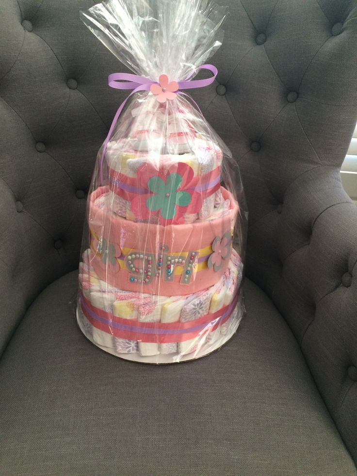Baby girl diaper cake  Made with honest diapers  #madewithlovebyjen