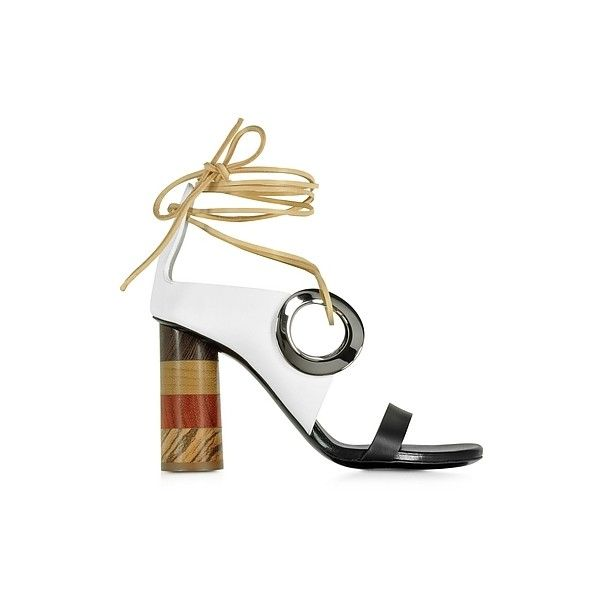 Proenza Schouler Shoes Black and White Leather Open Toe Sandal... ($420) ❤ liked on Polyvore featuring shoes, sandals, multicolor, black and white shoes, black white sandals, wrap shoes, tie sandals and wrap sandals