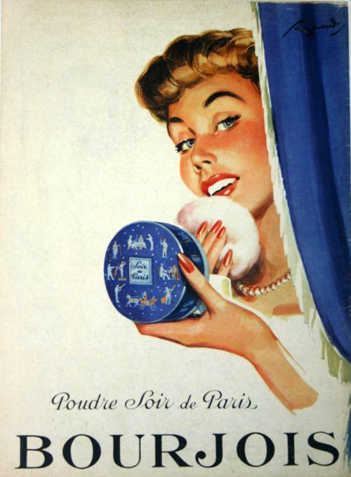 Affiche Bourjois Poudre Soir de Paris - France - 1952 - illustration de Raymond -