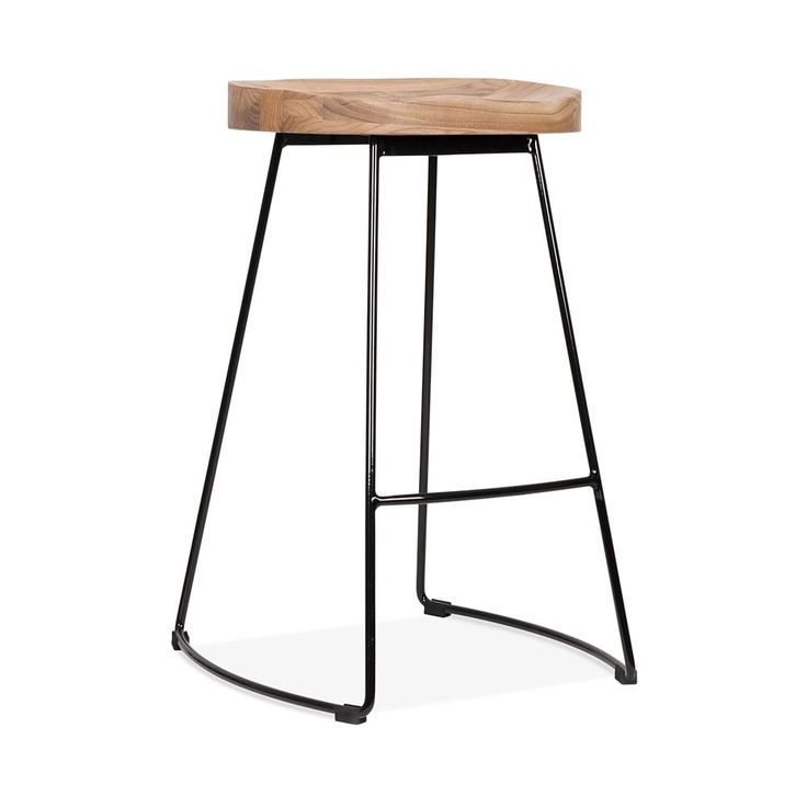 Cult Living Victoria Metal Bar Stool with Wood Seat Option - Black 65cm