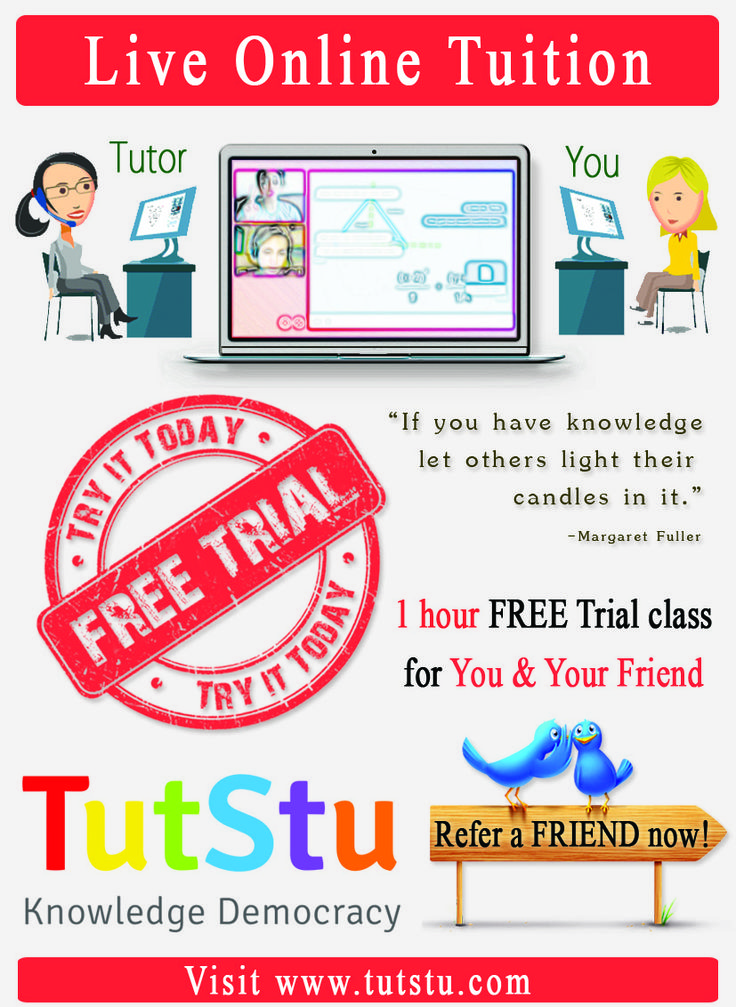 TutStu is World's First Marketplace of Tutors, for Students.   For STUDENTS - TutStu lists all Tutors on a Marketplace. TutStu helps Students to Access, Identify, Select & Learn from BEST Tutors, Live, Online. Students can use TutStu to find LIVE Online Tutors in all Subjects, get Homework Help, eTutoring, Assignment Help, Online Tuitions, Test Preparation eTuitions, e-Mentoring, e-Guidance etc.   FREE Registration for Students. Students are also provided Unlimited FREE Trial Sessions.