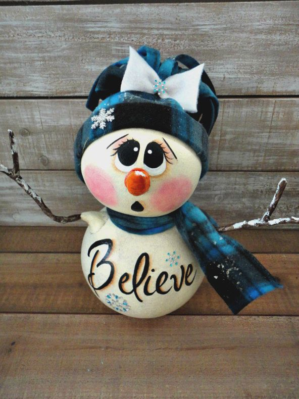 Hand Painted Christmas Winter Snowman Doll Gourd