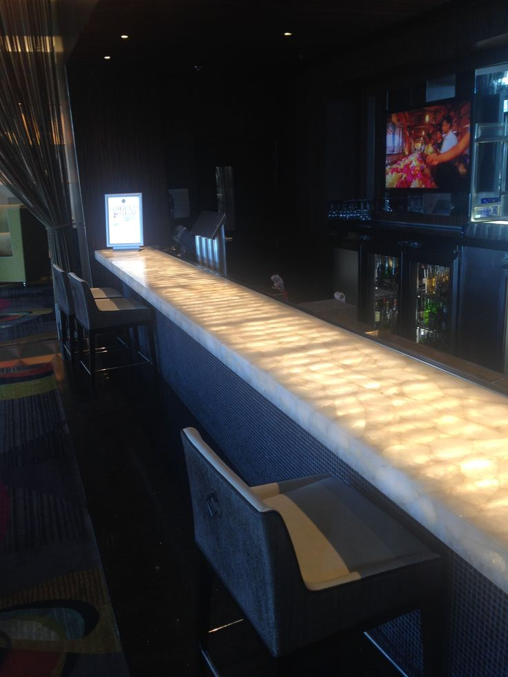 Lit synthetic marble bar at Crown Casino